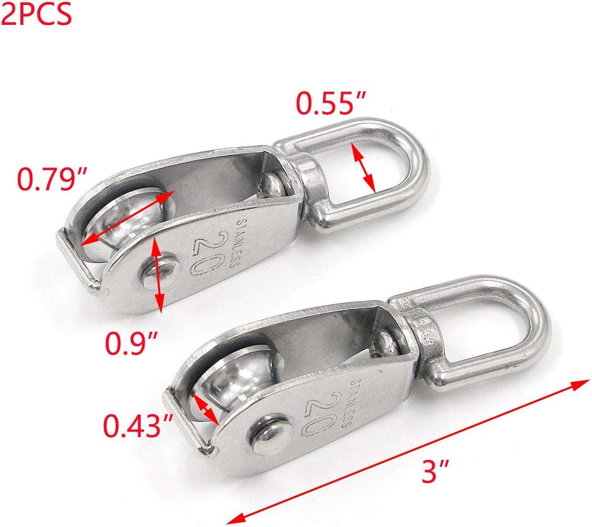 Tulead Lifting Single Pulley Stainless Steel Pulley Rope Swivel Wheel Block M15 Dia,Pack of 5