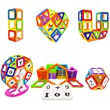 Soyee Magnetic Blocks STEM Educational Toys for 3,4 and 5+ Year Old Boys and Girls Creative Construction Fun Magnetic Tiles Kit Gifts for Kids - 100pcs Super Refill Kit