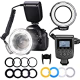Neewer 48 Macro LED Ring Flash Bundle with LCD Display Power Control, Adapter Rings and Flash Diffusers for Canon 650D…