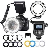 Neewer 48 LED RF-550D Marco Lampa Błyskowa, 8 Pierścieni Montażowych (49 – 77 mm), Zestaw do Aparatów Canon/Nikon…