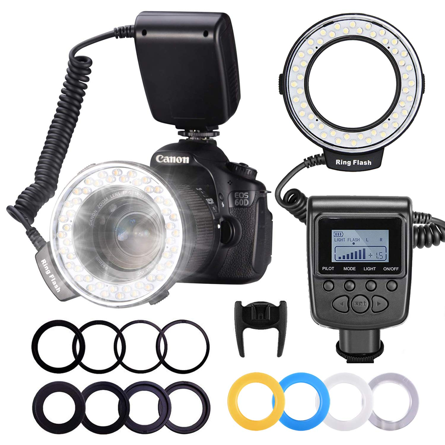 Neewer 48 Macro LED Ring Flash Bundle with LCD Display Power Control, Adapter Rings and Flash Diffusers for Canon 650D,600D,550D,70D,60D,5D Nikon D5000,D3000,D5100,D3100,D7000,D7100,D800,D800E,D60 by Neewer