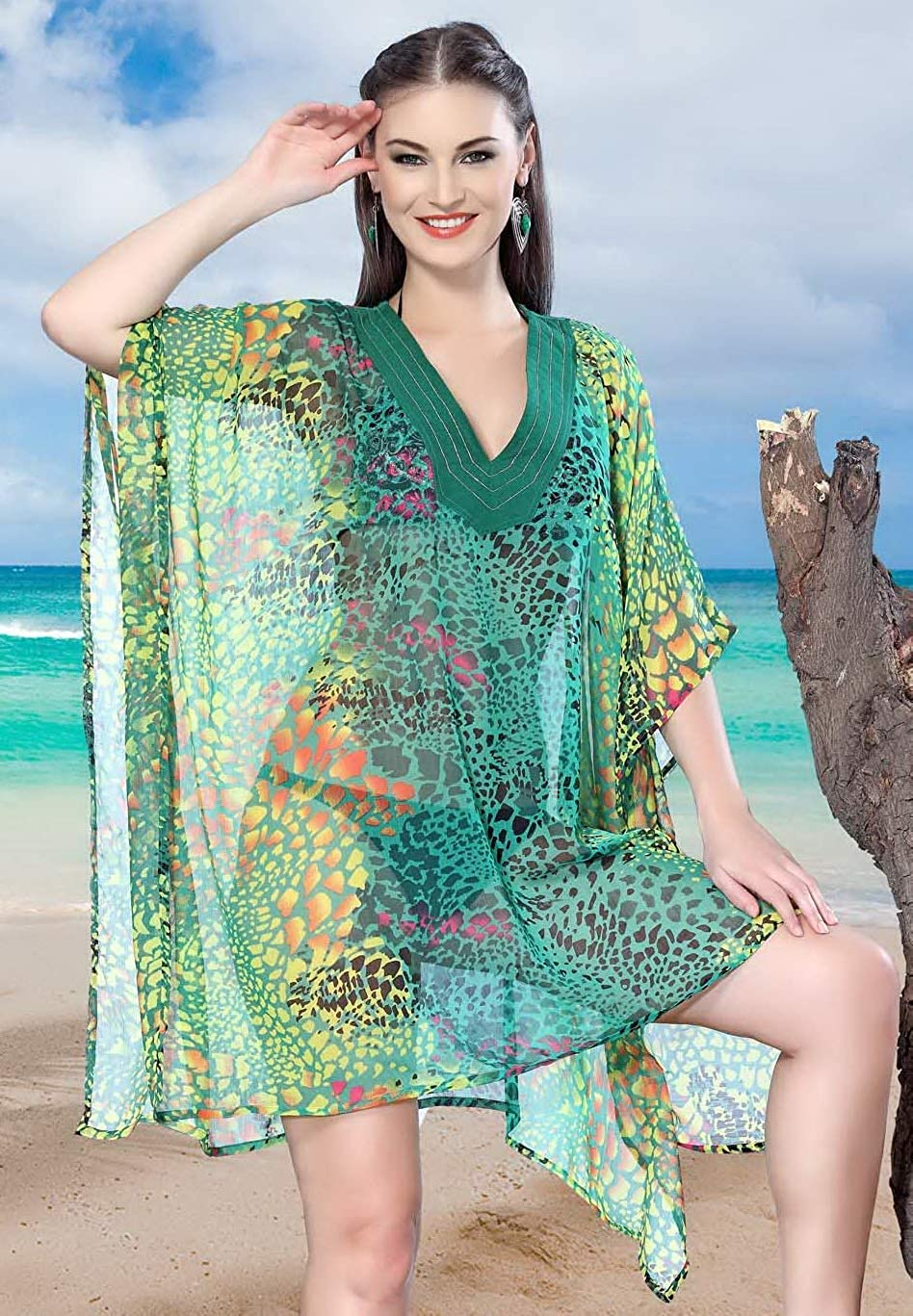 LA LEELA Verano Ropa de Sport Impresa Gasa Escarpada del Bikini Encubrir el Kimono m/ás tama/ño para Las Mujeres del Traje de ba/ño