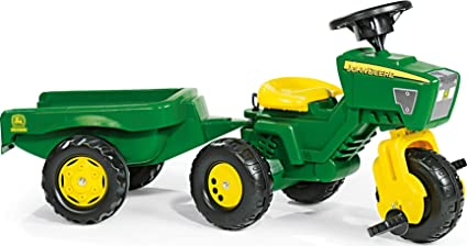 John Deere Pedal Vehicle Tricycle 3 Wheel Tractor Ride On with Removable Trailer