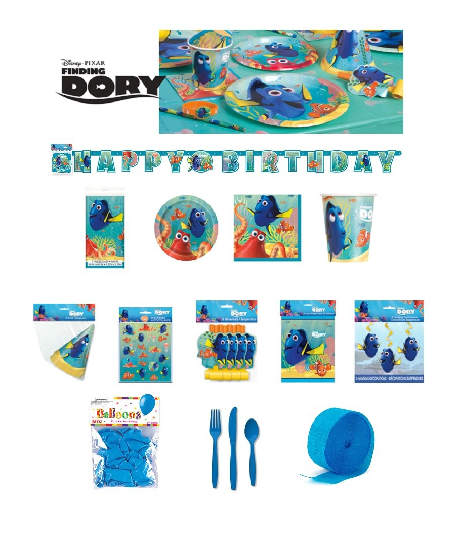 Finding Dory Kids Birthday Party Pack Decoration DELUXE KIT FOR 16 - 125 CT by DDP