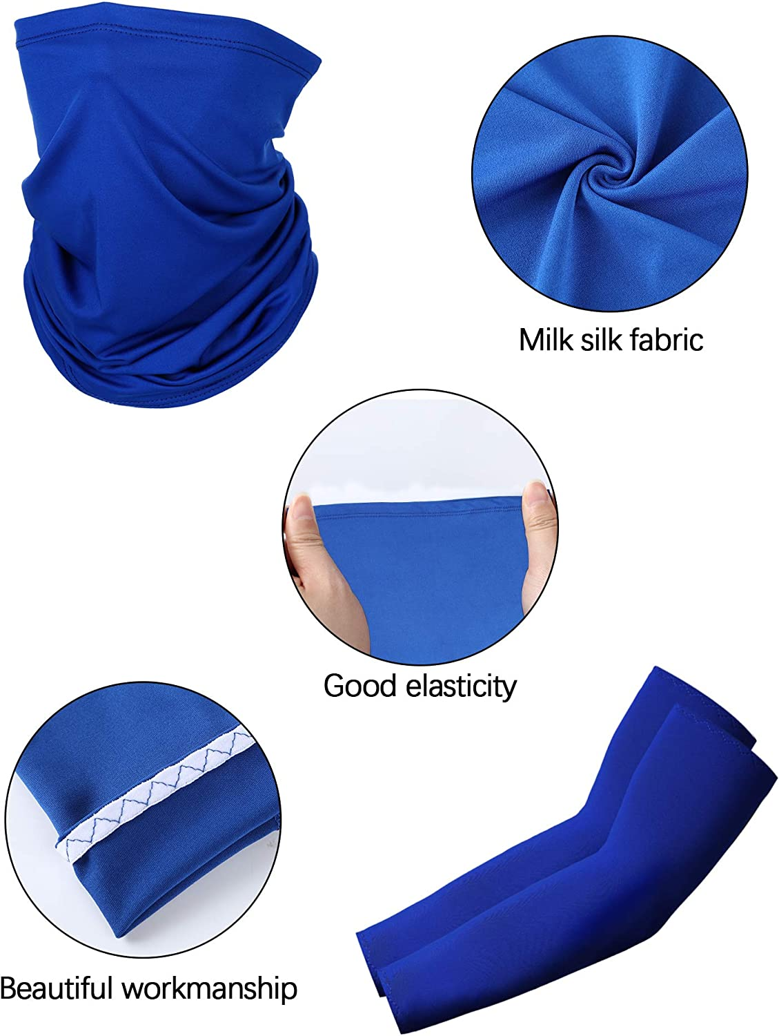 Cooling Sports Towel and Neck Gaiter Scarf for Fishing Climbing Outdoor Activities Cooling Arm Sleeves SATINIOR 4 Pack Sun Protection Kit Include Half Finger Cycling Fishing Gloves