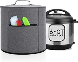 Luxja Cover Compatible with 6 Quart Instant Pot, Pressure Cooker Cover with Zipper Pocket (Compatible with 6 Quart Instant Pot), Gray