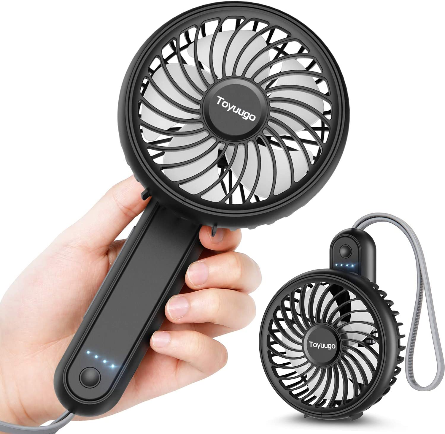 toyuugo Handheld Portable Fan, 2200 mAh 180 ° Foldable Small Fan with 3 Speeds, Rechargeable Table Fan with a Silicone Hand Strap, USB Personal Desk Fan for Office at Home Travel (Black)
