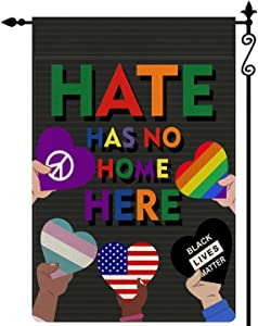 Shaboo Prints Colorful Hate Has No Home Here Garden Flag Om Peace Love American Flag Love is Love Black Lives Matter Vertical Double Sided Rustic Farmland Burlap Yard Lawn Outdoor Decor 12.5x18 Inch