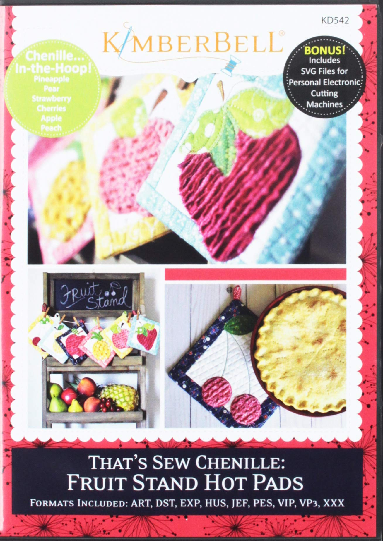 KIMBERBELL That's Sew Chenille Fruit Stand Hot Pads Machine Embroidery CD KD542 by Kimberbell
