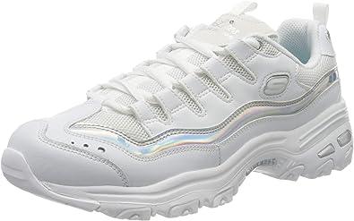 skechers d lite white silver