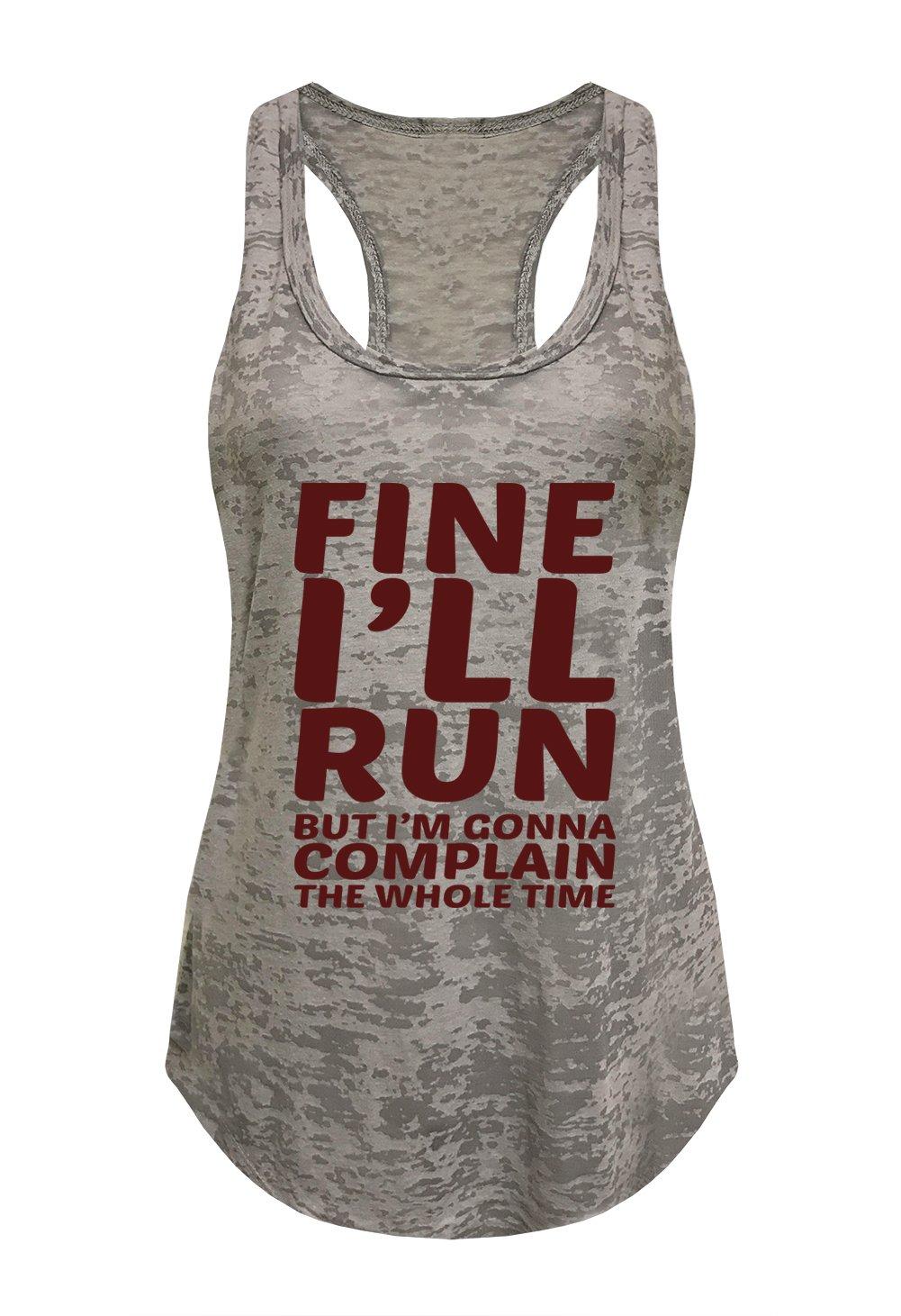 Tough Cookie's Women's Fine I'll Run Burnout Tank Top (Medium - LF, Heather Gray)