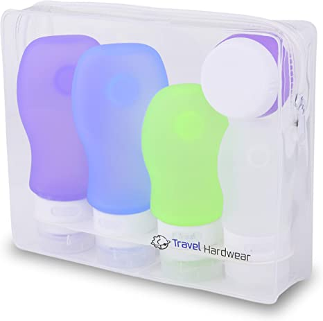 Set de Botes de Viaje de Silicona de Travel Hardwear- 4x89ml Recargables para Equipaje de Mano Bolsa Incluida aprobada por TSA. Pack de 4 Libre de BPA. (100ml) (2 x 89ml, 1