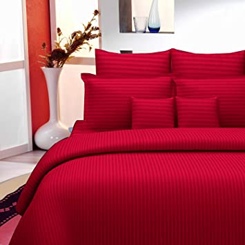 Reliable Trends 300 TC Plain Stripe King Size Elastic Fitted Bedsheets (Red)