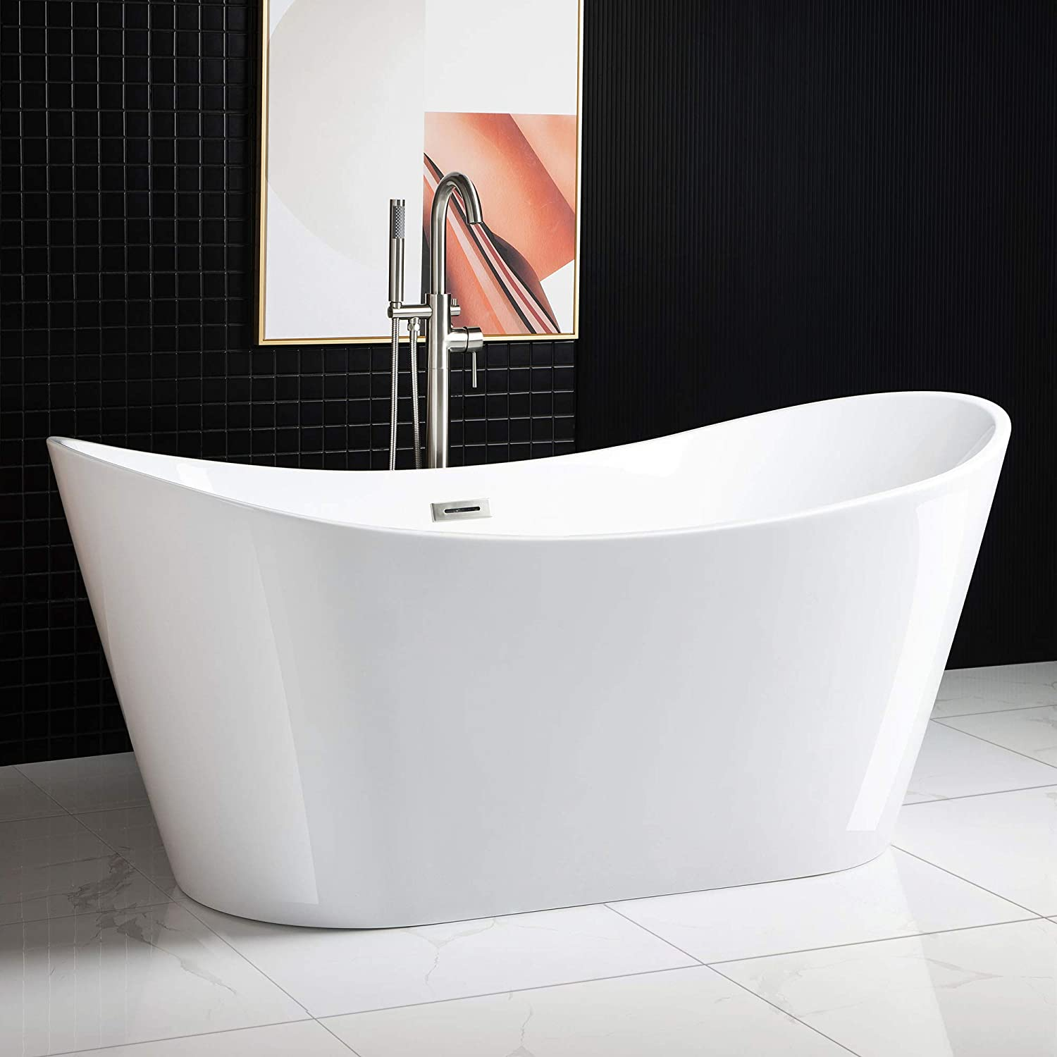 "WOODBRIDGE Acrylic Freestanding Bathtub Contemporary Soaking Tub with Brushed Nickel Overflow and Drain BTA1515-B,White, 67"" B-0010"