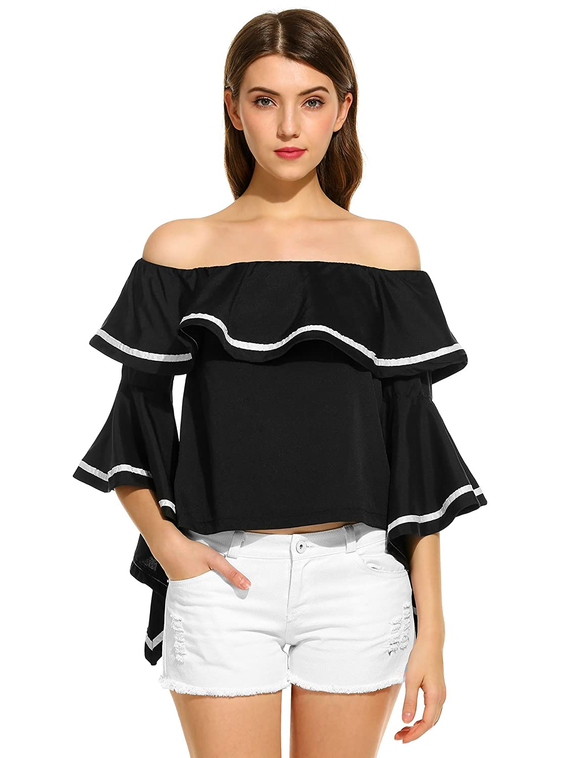 3be9e7cc4e130 Zeagoo Off The Shoulder Tops Women Bell Sleeve Floral Print Casual Ruffled  Sleeve Blouse at Amazon Women s Clothing store
