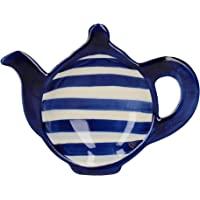London Pottery Out of The Blue Tea Bag Dish, Stoneware, Blue Bands Patterned Teapot Design, Navy Blue, 14.5 x 11 cm