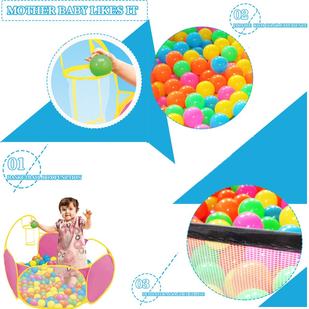 Toxz Child's Playpen Balls Pit Pool Tent for Toddler,with Basketball Hoop Shooting,Gym,Protection,Portable,Early Education,(Ship from US!)