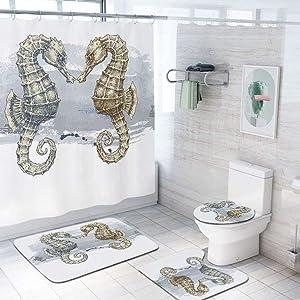 Animal Decor 69x75 inch Shower Curtain Sets,Seahorse Lovers in Paintbrush Artisan Technique Grunge Splash on Background Toilet Pad Cover Bath Mat Shower Curtain Set 4 pcs Set,Gray Cream