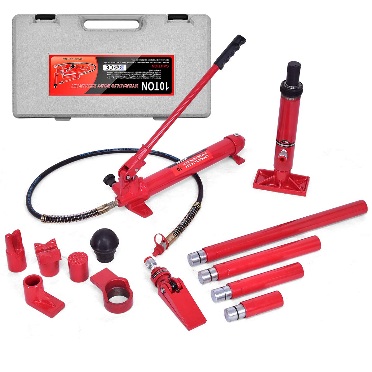 Goplus 10 Ton Porta Power Hydraulic Jack Air Pump Lift Ram, Auto Body Frame Repair Tool Kit with Carrying Case, Perfect for Automotive, Truck, Farm and Heavy Equipment Repair (10 Ton) by Goplus