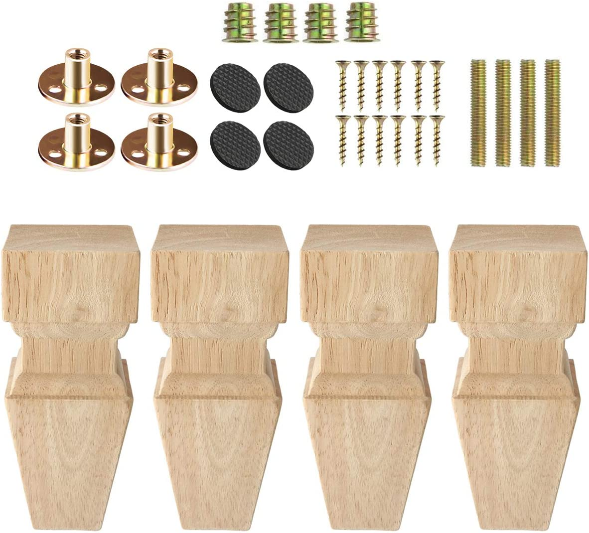6 inch / 15cm Wooden Furniture Legs, La Vane Set of 4 Carved Geometry Solid Wood Unfinished Replacement Bun Feet with Mounting Plate & Screws for Sofa Cabinet Couch Table TV Stand