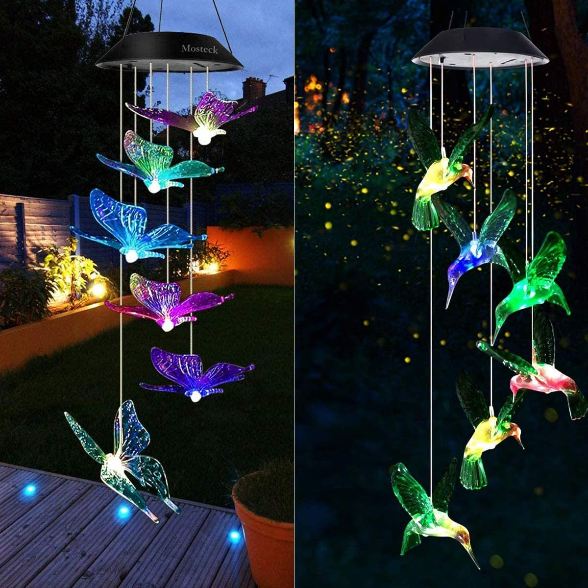Mosteck Wind Chimes Outdoor Solar, Butterfly Wind Chimes & Hummingbird Wind Chimes Color Changing Lights Mobile Wind Chime