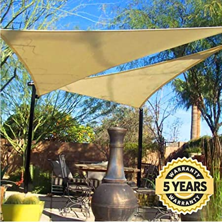 Quictent 20 x 20 x 20 ft Triangle 185GSM Sun Shade Sail Canopy 98 UV-Blocked for Patio Outdoor Activities Sand