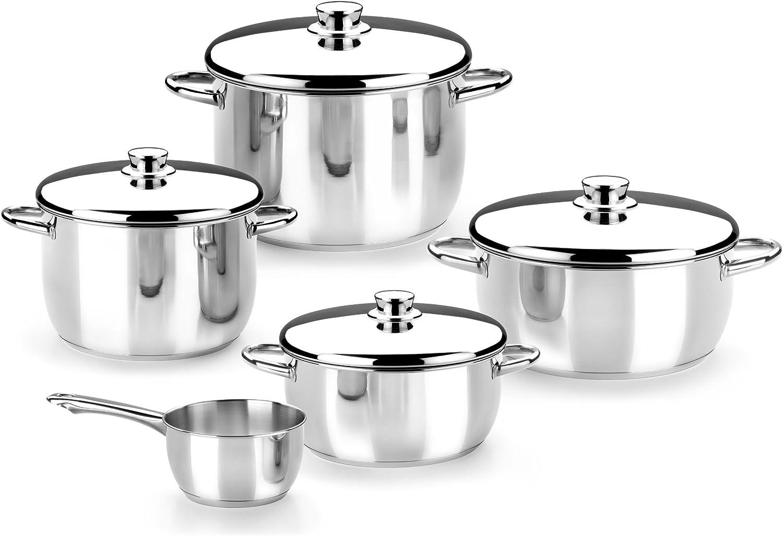 Monix Braisogona_M450055 Optima - Menaje 5 Piezas de Acero Inoxidable 18/10, Apta para Todo Tipo de cocinas incluídas de inducción