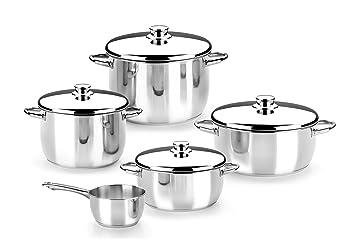 Monix Optima - Menaje 5 piezas de acero inoxidable 18/10, apta para todo tipo de cocinas incluídas de inducción: Amazon.es: Hogar