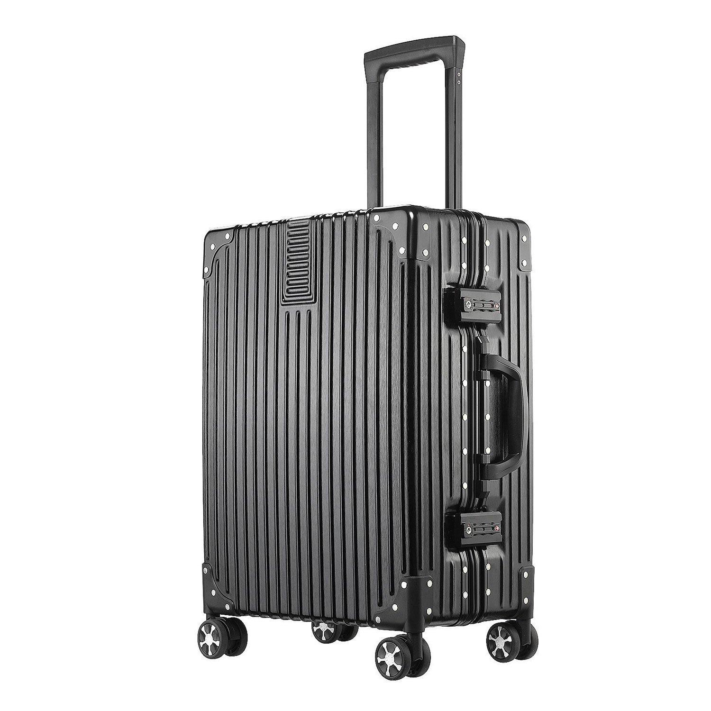 (アザブロ) AZBRO スーツケース キャリーケース TSAロック 半鏡面 アルミフレーム レトロ 旅行 出張 静音 超軽量 B077X9FBBZ L|ブラック ブラック L