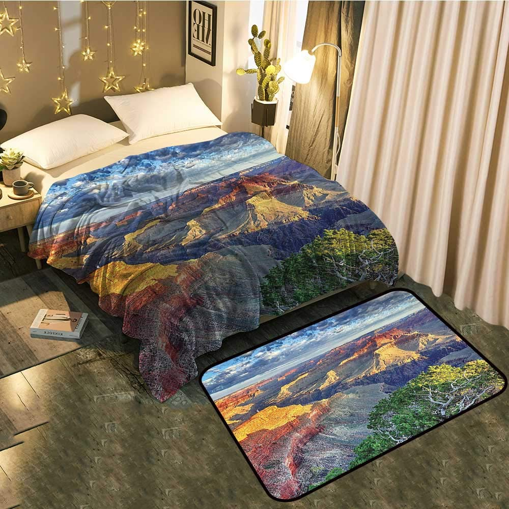 color05 Blanket 35 x60  Mat 21 x11  Bedside Blanket Doormat suitPattern with Leaves Springtime Greenery Bush Ecology Garden Growth Cozy and Durable Blanket 60 x78  Mat 5'X8'