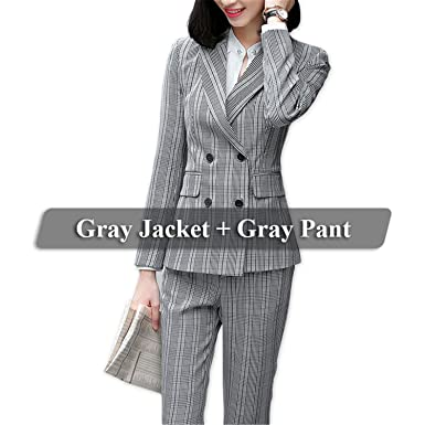 2701bb9cbe715 Frozac 2 Piece Set Formal Pant Suit Double Breasted Blazer Office Lady  Uniform Designs Women Business