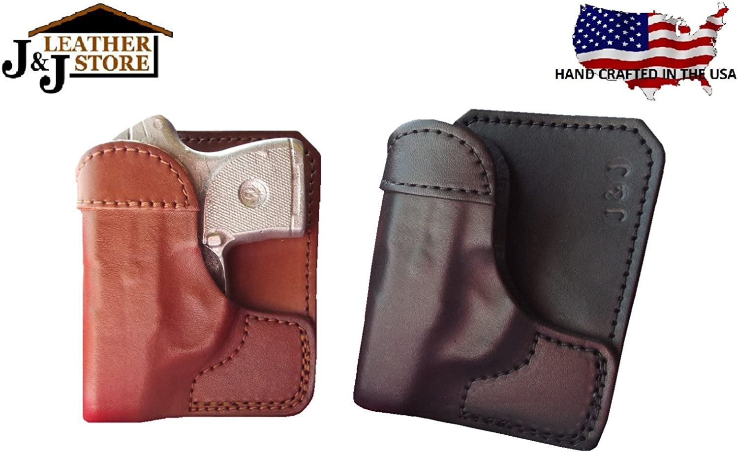 Pocket Holster Fits Springfield 911 Wallet Shoot Thru Brown Leather