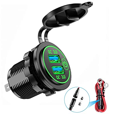 YONHAN Quick Charge 3.0 Dual USB Car Charger with Switch, Waterproof 36W 12V USB Outlet Fast Charger Power Outlet for Marine Boat Motorcycle Truck Golf Cart and More - Green: Automotive