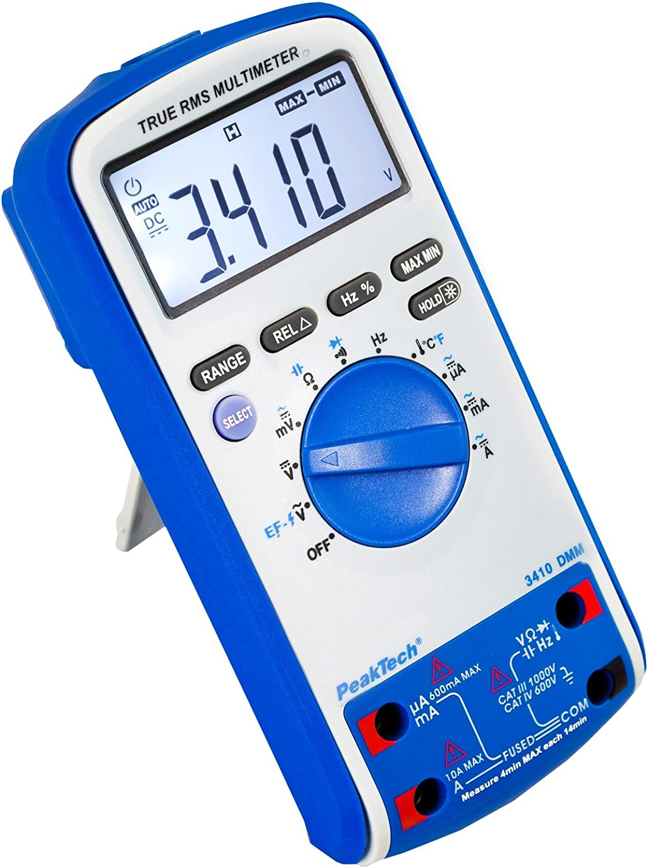 Peaktech 3410 True Rms Digital Multimeter 6000 Counts Mit Durchgangsprüfer Ncv Temperatur Und Autorange Cat Iii 1000v Cat Iv 600v Gewerbe Industrie Wissenschaft