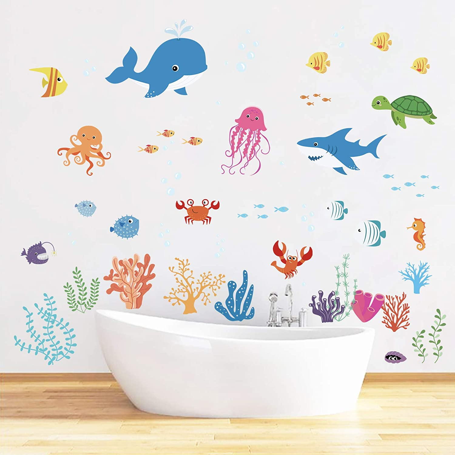 decalmile Tropical Fish Wall Decals Under The Sea Wall Stickers Baby Nursery Kids Bedroom Bathroom Wall Decor