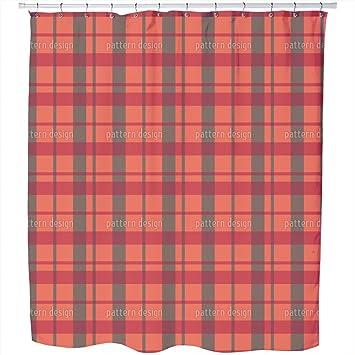 Carolina Tartan Shower Curtain Large Waterproof Luxurious Bathroom Design Woven Fabric