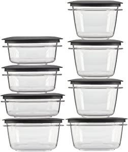 Rubbermaid Premier Food Storage Containers with Easy Find Lids, 16-Piece Set, Grey