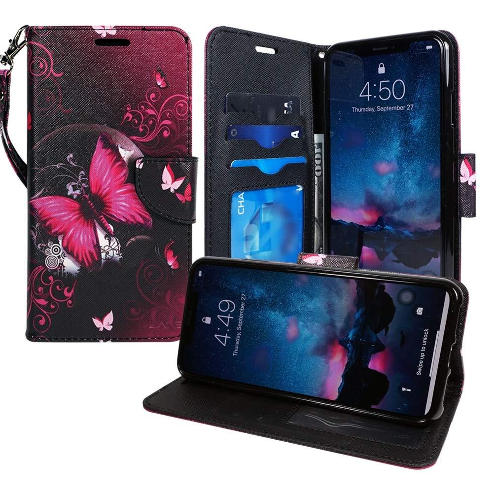 LG V40 Case, ZASE Design for LG V40 ThinQ Wallet Protective Case Premium PU Leather Flip Folio Cover w/[Wrist Strap] Card Slot Money Pocket [Kickstand] (Hot Pink Butterfly Flower)