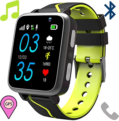 Kids Smart Watch Phone with MP3 Player - Students Music 3.5mm Jack Smartwatch with LBS Tracker 2 Way Calls Voice Chat Camera SOS Help FM Radio ...