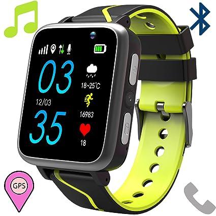 MP3 Reloj inteligente Teléfono Para Niños,Smartwatch con MP3 Player FM Localizador LBS Chat de Voz Cámara Linterna Podómetro para Mirar Regalos Niño ...