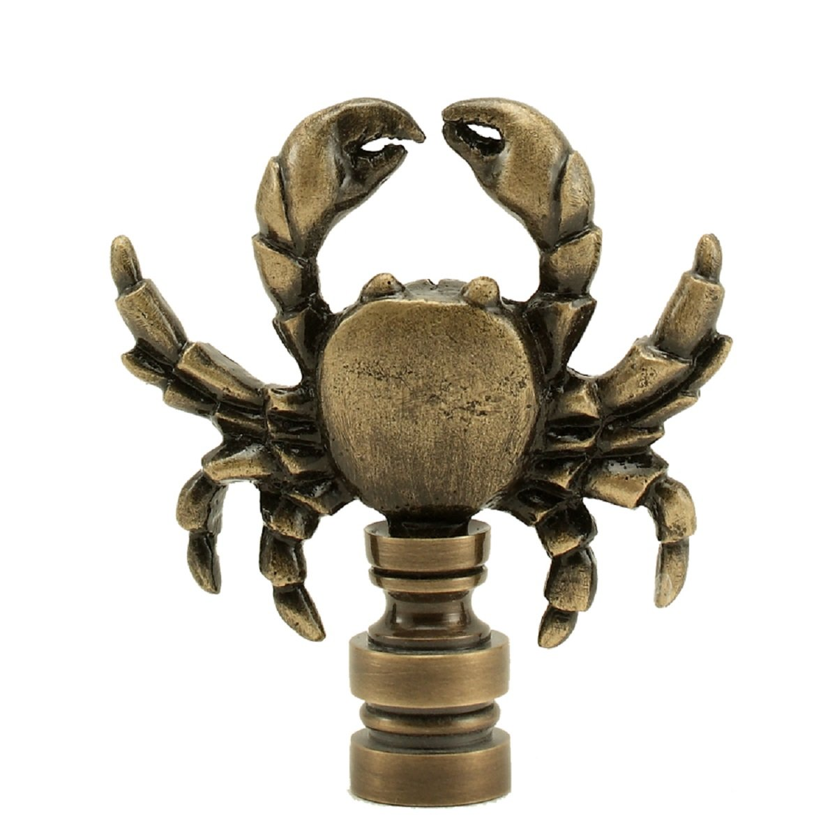 Sea Animal Lamp Finial Your Choice of Big Fish or Crab -2.25 Inches High - Antiqued finish (Crab)