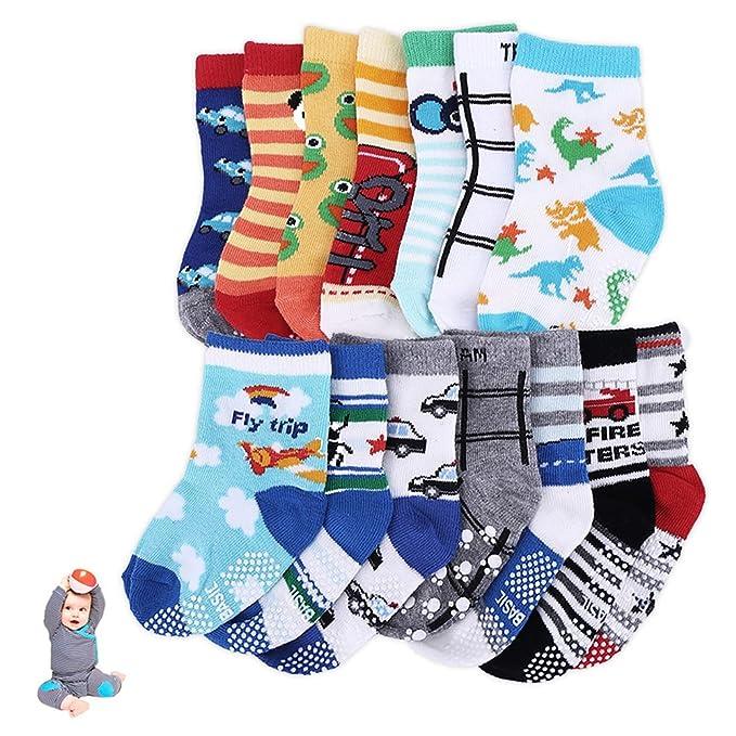 Comficent 14 Pares Calcetines Bebé Antideslizantes de goma Primavera Calcetines de los niño surtidos animal print