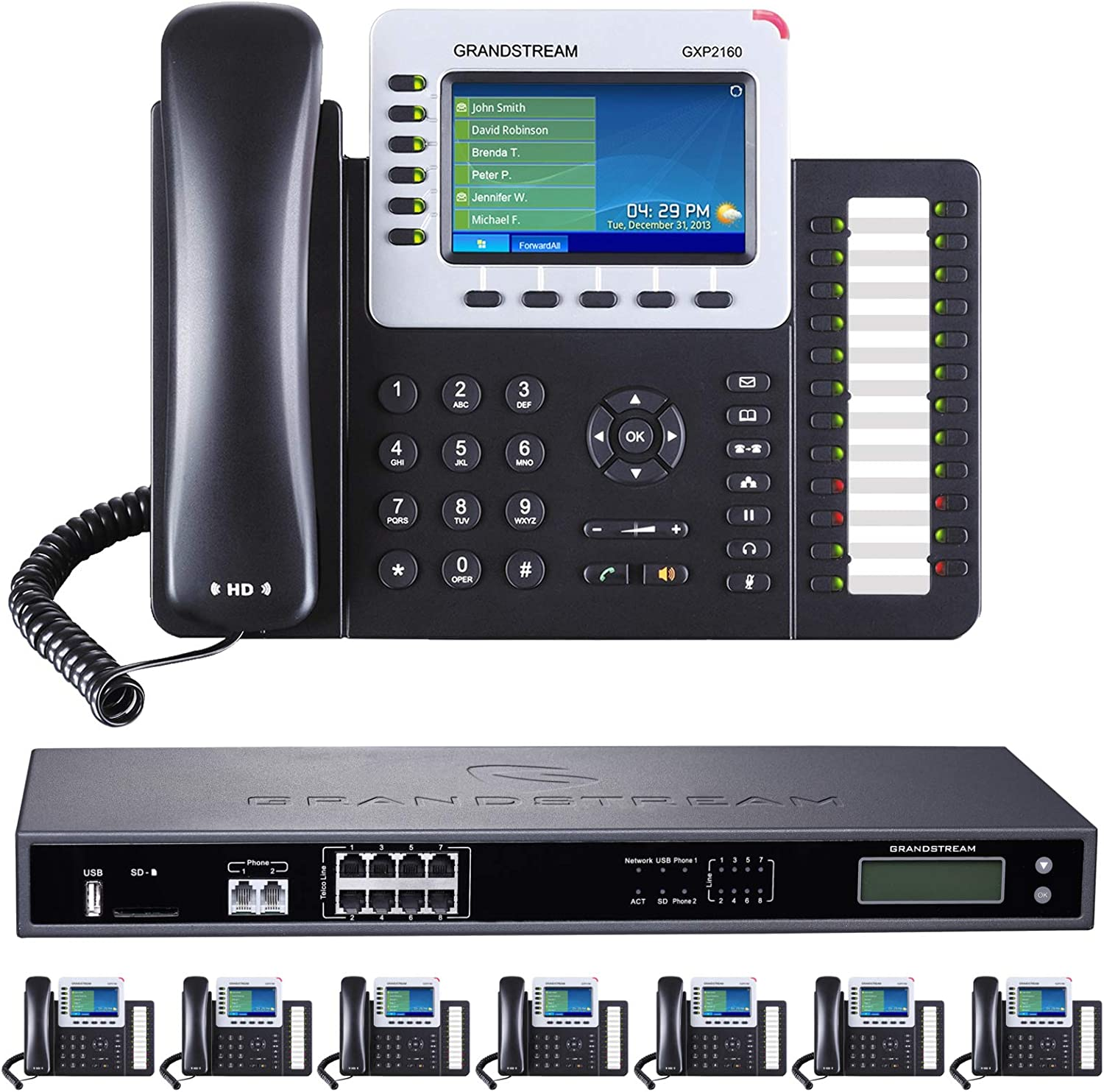 Business Phone System by Grandstream: 8-Line Ultimate Pack with Auto Attendant, Voicemail, Cell & Remote Phone Extensions, Call Recording & 1 Year Free Mission Machines Phone Service (8 Phone Bundle)