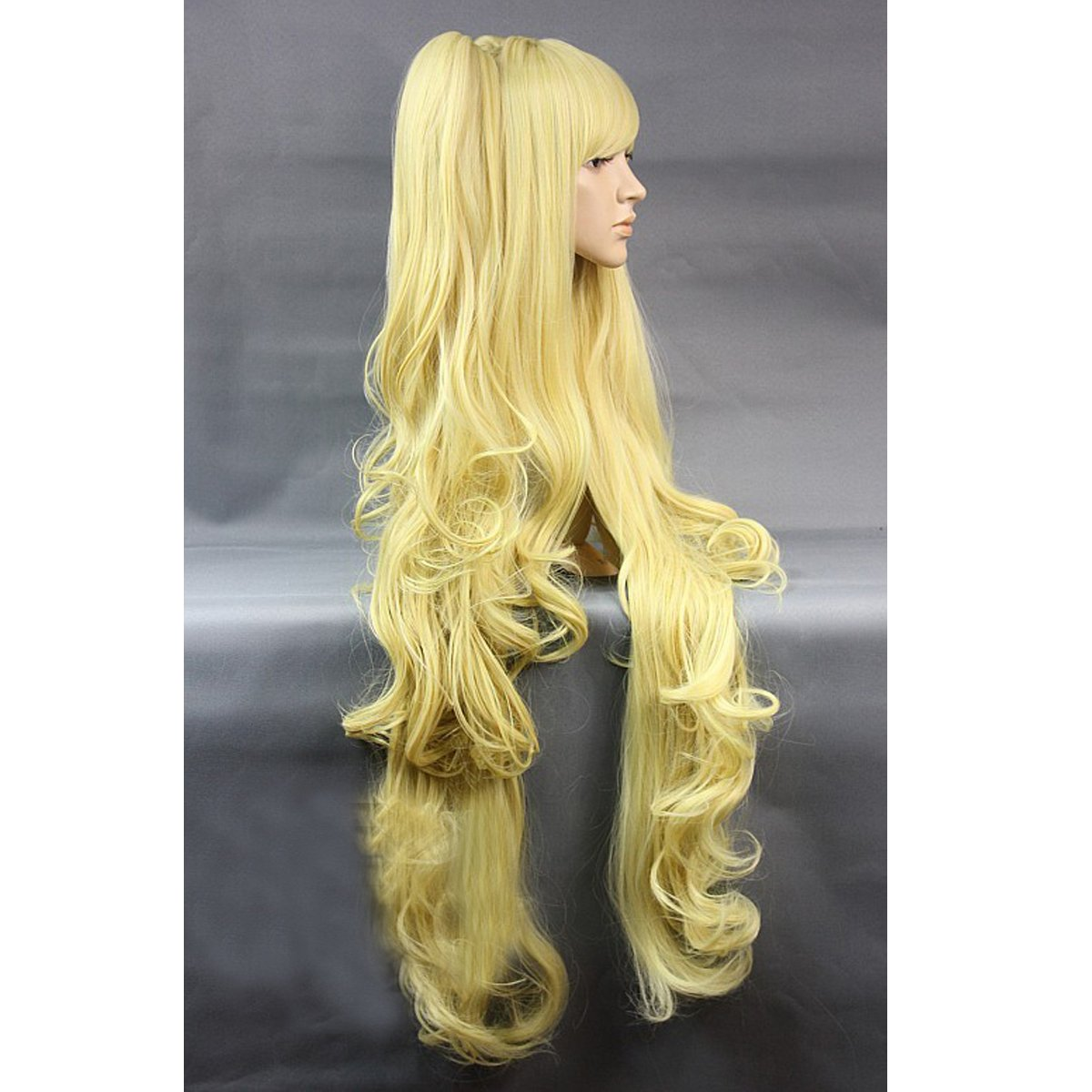 Amazon.com: Angelaicos Womens Lolita Harajuku Style Curly Wavy Layred Clip on Ponytails Halloween Costume Cosplay Party Wigs Long Yellow 40 Inches: Beauty
