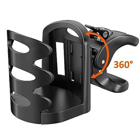 Cocoda Portabidones Ciclismo, 360 Grados Ajustable Universal Portavasos Carrito Bebe Antideslizante Portabotellas Bici Soporte de