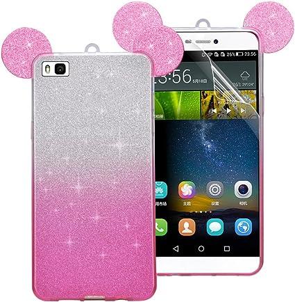 Coque Huawei P8 Lite (2015 Version), Sunroyal® Bling Silicone Souple Case de Protection Adorable Oreille Back Cover TPU Housse Etui Shock Absorption ...