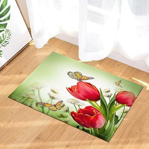 EdCott Color Mariposa tulipán Rojo cojín Puerta Delantera al ...