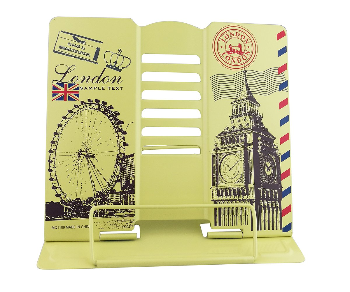 Cartoon Adjustable Foldable Book Music Tablet Stand Bookend Holder Reading Rack Lounger Book Clip Reader Tool Office Organizer Lift- Paris London Design (Big Ben and London Eye Yellow)