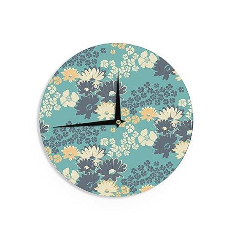 Kess internos de Zara, Martina MANSEN azul Color ramo verde azul reloj de pared,