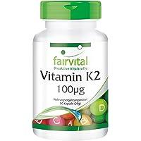 Vitamine K2 100mcg, naturelle, 99% all-trans MK-7, ménaquinone, végan, sans antiagglomérant, 90 gélules, Approvisionnement pour un trimestre